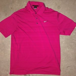 Men NIKE TIGER WOODS Pink Snap Golf Polo Shirt M